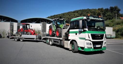 Transporte Webersdorfer Baumaschinentransport mit Anhänger
